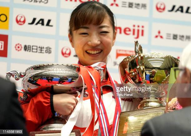 Women's gold medalist Asuka Teramoto smiles on the podium at the medal ceremony on day three of the 73rd All Japan Artistic Gymnastics Individual...