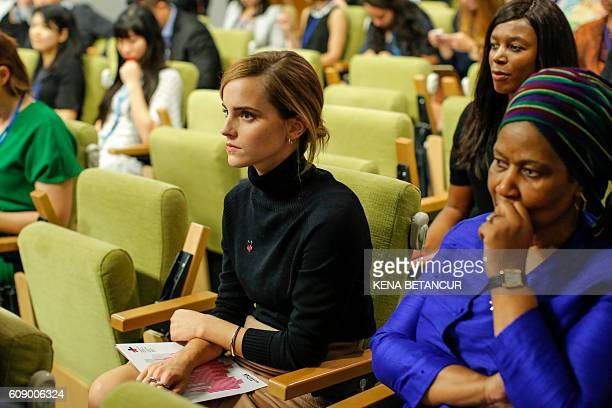 UN Women's Goodwill Ambassador actress Emma Watson attends a press conference to launch of the campaign 'HeForShe' at the United Nations Headquarters...