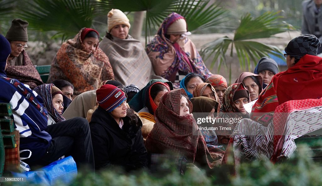 A women's group participating meditation class during Foggy and Cold morning at Lodi Garden on January 6, 2013 in New Delhi, India. Setting a new low for temperature this winter, mercury in the national capital on Sunday fell to 1.9 degrees Celsius - five notches below average. This is the lowest recorded in Delhi in five years.