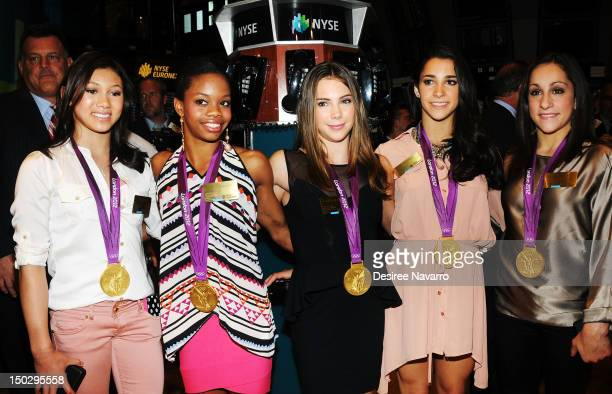 US Women's Gymnastics 2012 Olympic Gold Medal team Kyla Ross Gabrielle Douglas McKayla Maroney Aly Raisman Jordyn Wieber visit the New York Stock...