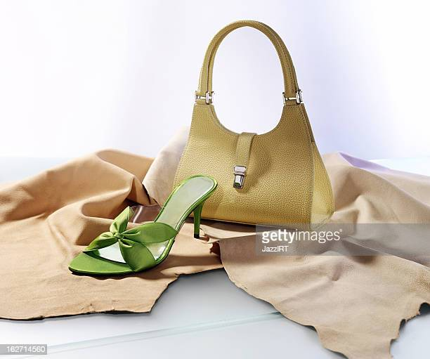 women's handbags and shoes - suede shoe stock pictures, royalty-free photos & images