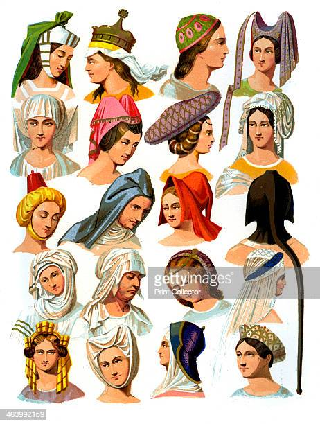 Women's hats of different classes of society 13th16th century A 19th century version based on original 13th16th century manuscript illustrations From...