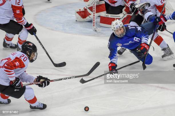 US Women's Hockey forward Jocelyne LamoureuxDavidson from Grand Forks ND and Canada Women's Hockey forward Sarah Nurse chase the puck during third...