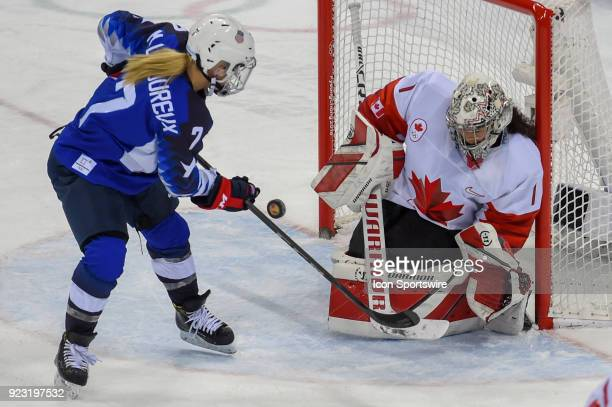 US Women's Hockey forward Monique LamoureuxMorando from Grand Forks ND looks for an assist as Canada Women's Hockey goalie Shannon Szabados prepares...