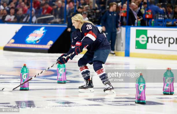 Women's Hockey player Amanda Kessel competes in the Gatorade NHL Puck Control Relay during 2018 GEICO NHL AllStar Skills Competition at Amalie Arena...