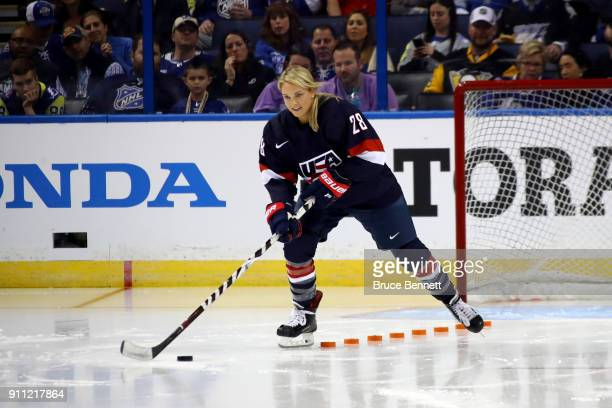 Women's Hockey player Amanda Kessel competes in the Gatorade NHL Puck Control Relay during the 2018 GEICO NHL AllStar Skills Competition at Amalie...