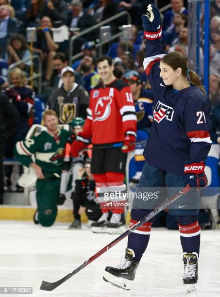 Women's Hockey player Hilary Knight competes in the Honda NHL Accuracy Shooting during 2018 GEICO NHL AllStar Skills Competition at Amalie Arena on...