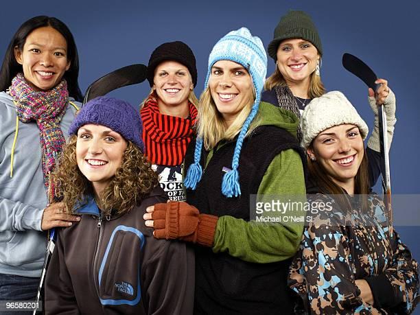 Women's Ice Hockey Team 2010 Vancouver Olympic Games Preview Portrait of USA Women's Team players Julie Chu Jessie Vetter Natalie Darwitz Jenny...