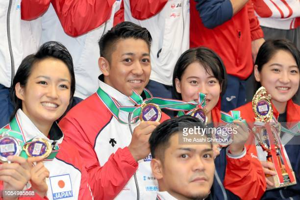 Women's Kata Gold medalist Kiyou Shimizu and Men's Kata Gold Medalist Ryo Kiyuna of Japan celebrate during the Karate1 Premier League Tokyo at Tokyo...