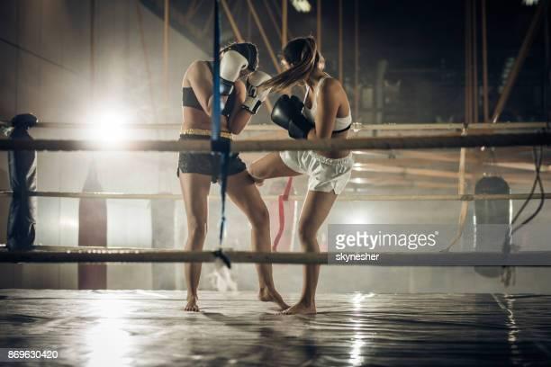 Women's kickboxing match in a ring!