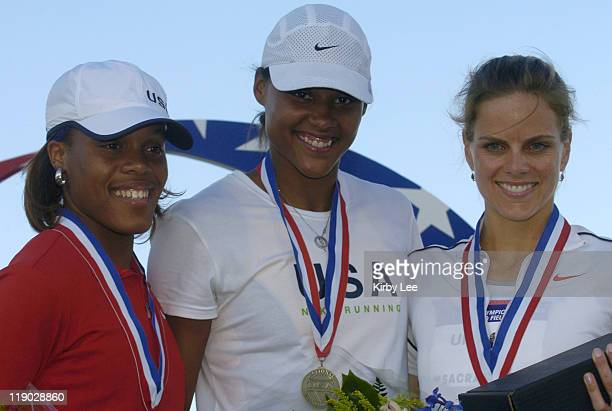 Women's long jump medallists from left Akiba McKinney Marion Jones and Grace Upshaw at the US Track and Field Olympic trials at California State...