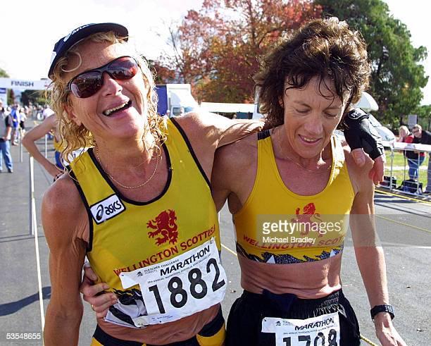 Womens marathon second place Bernie Portenski with sister Michele Allison who came third after the Fletcher Challenge Forests Rotorua Marathon...