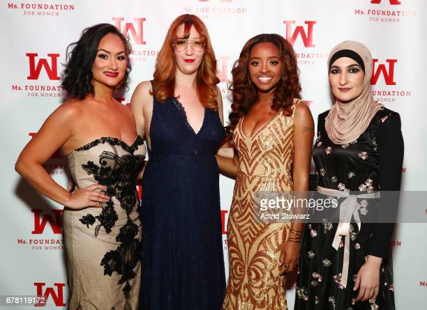 Women's March CoChairs and honorees Carmen Perez Bob Bland Tamika D Mallory and Linda Sarsour attend the Ms Foundation for Women 2017 Gloria Awards...