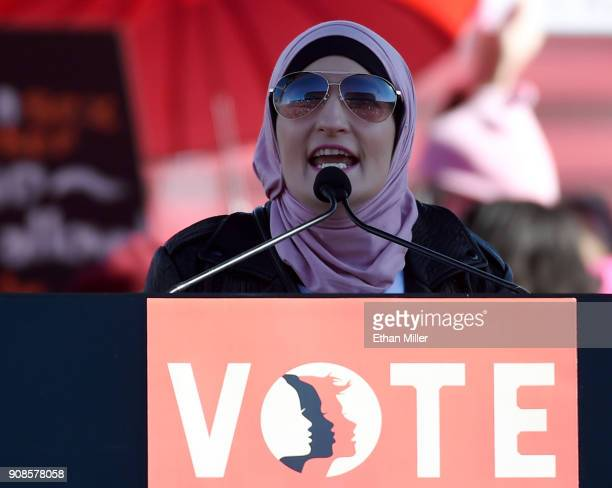 Women's March CoChairwoman Linda Sarsour speaks during the Women's March Power to the Polls voter registration tour launch at Sam Boyd Stadium on...