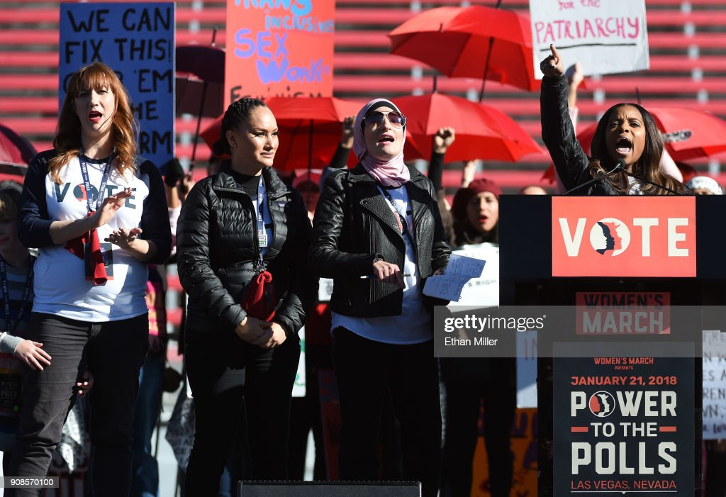 """""""Power To The Polls"""" Voter Registration Tour Launched In Las Vegas On Anniversary Of Women's March : News Photo"""