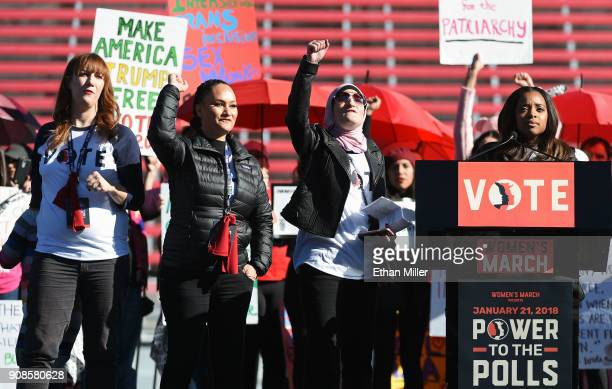 Women's March CoChairwomen Bob Bland Carmen Perez Linda Sarsour and Tamika D Mallory speak during the Women's March Power to the Polls voter...