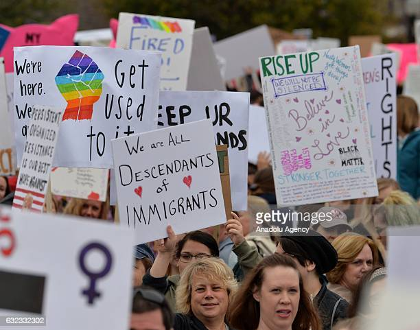 Women's march in Charlotte attended by an estimated 10000 demonstrators as a sister march to the one in Washington DC in USA on January 21 2017