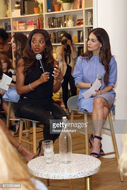 Women's March National CoChair Tamika Mallory and cofounder of The Wing Audrey Gelman speak on a panel during a VIP screening of the Original Series...