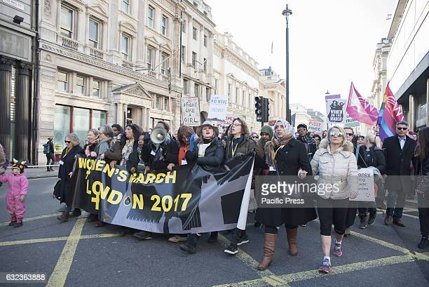 Women's March on London in the first day of work for the 45th President of the United States Donald J Trump Womens March on London was planned in...