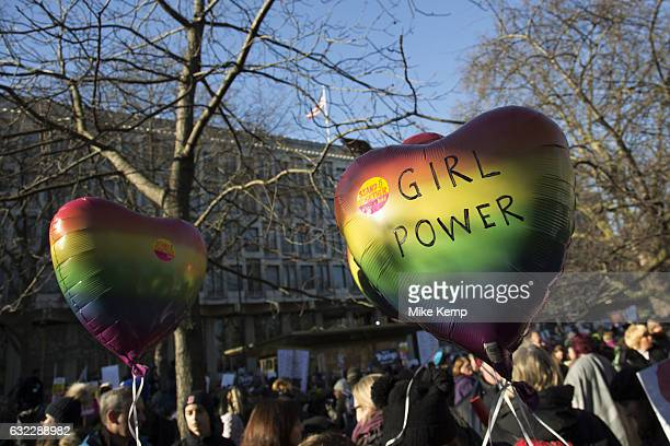 Womens March on London to coincide with the first day of Donald Trumps Presidency on January 21st 2017 in London United Kingdom Womenled marches...