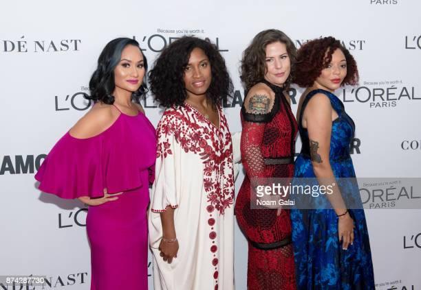 Women's March Organizers Carmen Perez De'Ara Balenger Cassady Fendlay and Brea Baker attends the 2017 Glamour Women of The Year Awards at Kings...
