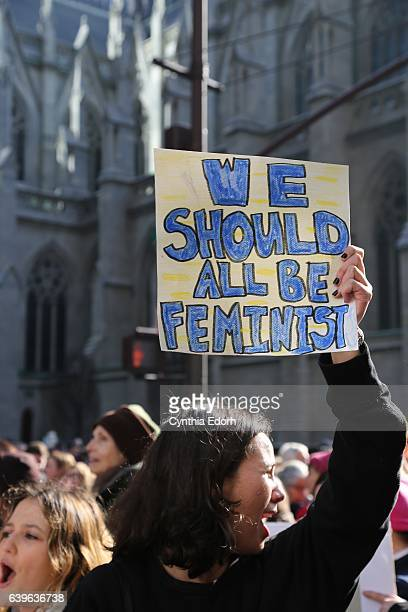 Women's March participants march in support of equality and to promote civil rights for every human on January 21 2017 in New York City
