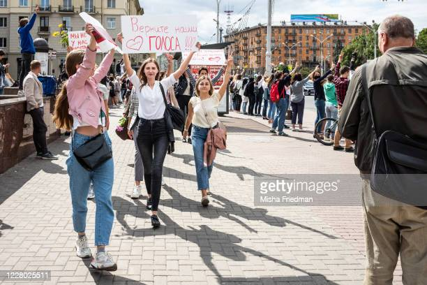 Women's March takes place through the streets of Minsk on August 13 2020 in Minsk Belarus There have been nightly protests since Sunday's...