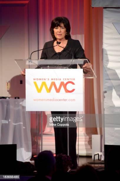Women's Media Center Pat Mitchell Lifetime Achievement Award winner Journalist Christiane Amanpour speaks onstage at the 2013 Women's Media Awards on...