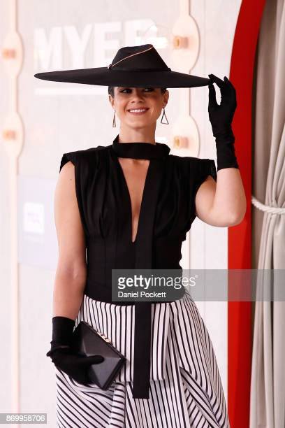 Women's Myer Fashions on the Field daily winner Montelle Mondello poses on AAMI Victoria Derby Day at Flemington Racecourse on November 4 2017 in...