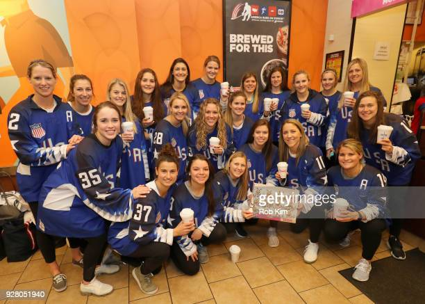 S Women's National Hockey Team celebrates their win with breakfast at Dunkin' Donuts on March 6 2018 in New York City