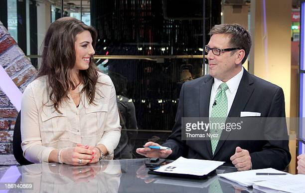 S Women's National Hockey Team forward Hilary Knight speaks with host EJ Hradek on the set of NHL Live on October 28 2013 in New York City The US...