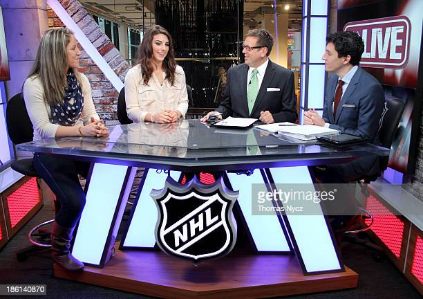 US Women's National Hockey Team forwards Meghan Duggan and Hilary Knight appear on the NHL Live television program with hosts EJ Hradek and Steve...