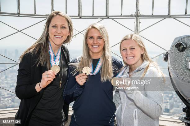 US Women's National Hockey Team Members Meghan Duggan Amanda Kessel and Kendall Coyne visit The Empire State Building on April 11 2017 in New York...