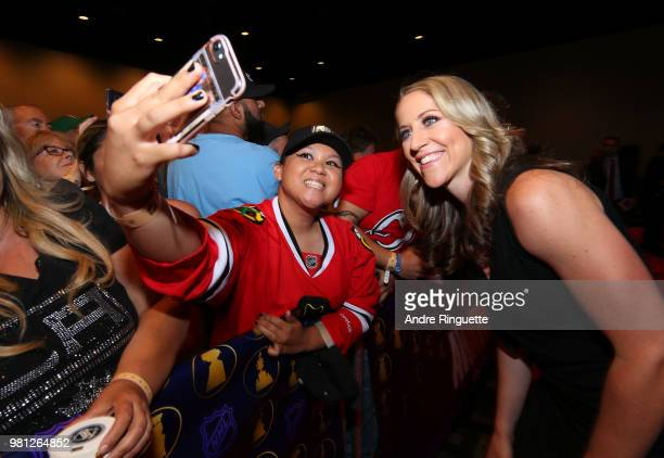 Women's National Hockey Team players Meghan Duggan arrives at the 2018 NHL Awards presented by Hulu at the Hard Rock Hotel Casino on June 20 2018 in...