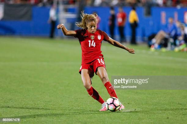 S Women's National Soccer Casey Short crosses the ball during the international friendly soccer match between the United States Women's National team...