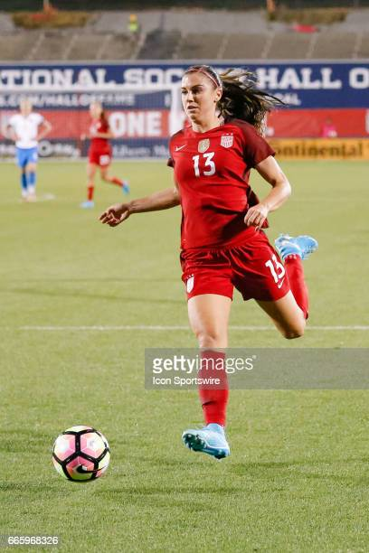 S Women's National Soccer Forward Alex Morgan chases a loose ball during the international friendly soccer match between the United States Women's...