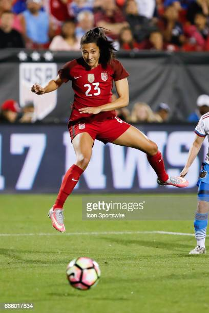 S Women's National Soccer Forward Christen Press during the international friendly soccer match between the United States Women's National team and...