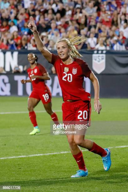 S Women's National Soccer Midfielder Allie Long celebrates her goal during the international friendly soccer match between the United States Women's...