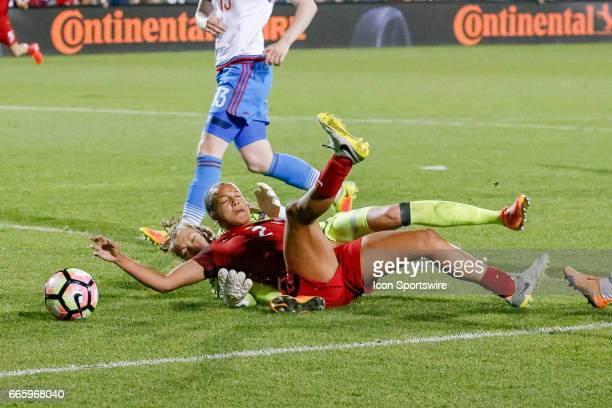 S Women's National Soccer Midfielder Mallory Pugh is fouled in the box during the international friendly soccer match between the United States...