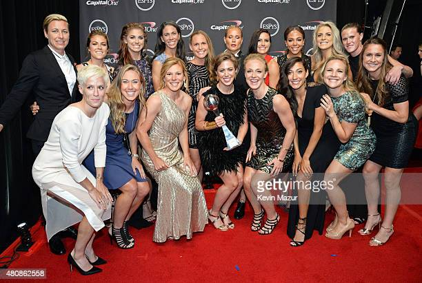 USA womens national soccer team accepts award for Best Team at The 2015 ESPYS at Microsoft Theater on July 15 2015 in Los Angeles California