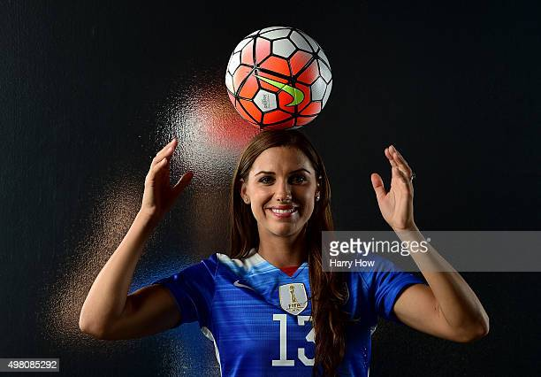 S women's national soccer team player Alex Morgan poses for a portrait at the USOC Rio Olympics Shoot at Quixote Studios on November 20 2015 in Los...