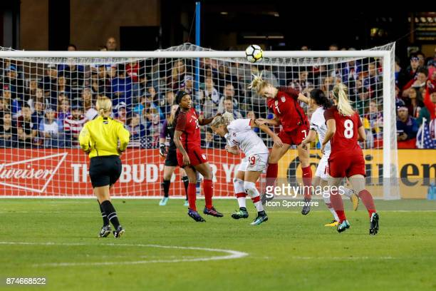Women's National Team Defender Abby Dahlkemper gets her head on the ball in traffic during the friendly soccer match between the US Women's National...
