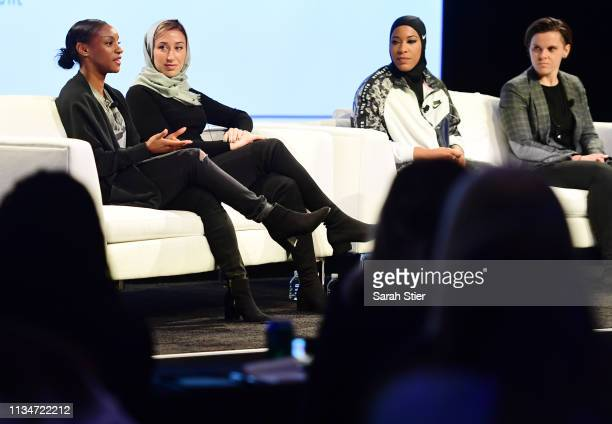 Women's National Team defender Crystal Dunn speaks to the audience during the SheBelieves Summit at Nike New York Headquarters on March 09 2019 in...