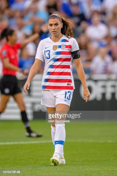 S Womens National Team forward Alex Morgan looks on during a Tournament of Nations international soccer match between the United States and Brazil on...