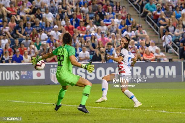 S Womens National Team forward Alex Morgan scores a goal past Brazil Womens National Team goalkeeper Letícia in the 2nd half during a Tournament of...