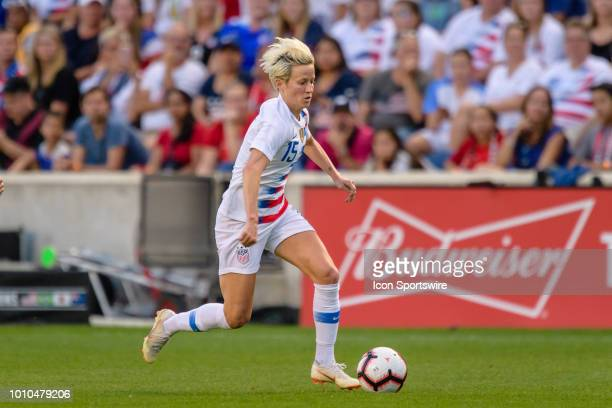 S Womens National Team forward Megan Rapinoe attacks with the ball in the 1st half during a Tournament of Nations international soccer match between...