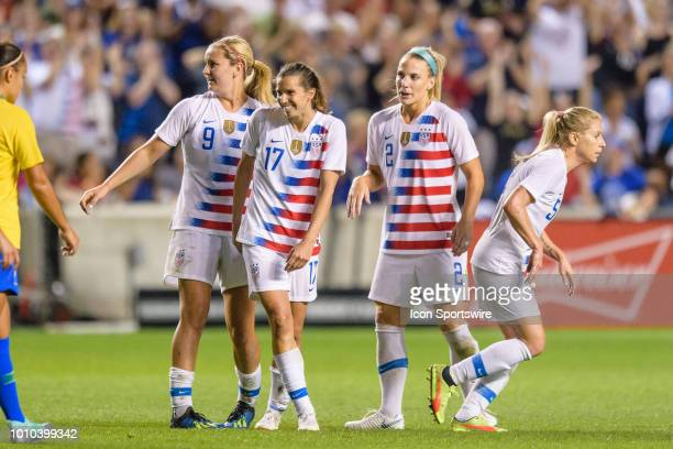 S Womens National Team forward Tobin Heath celebrates her goal in the 2nd half during a Tournament of Nations international soccer match between the...