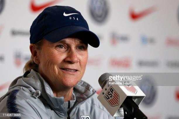Women's National Team head coach Jill Ellis answers media questions during a press conference ahead of a training session for the U.S. Women's...