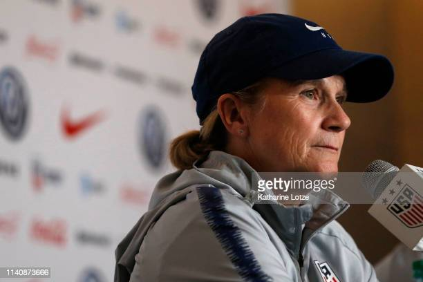 S Women's National Team head coach Jill Ellis answers media questions during a press conference ahead of a training session for the US Women's...