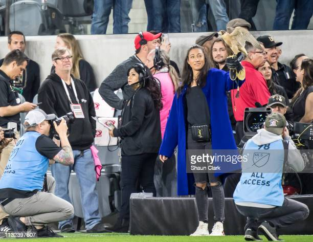 S Women's National Team Member Kristen Press releases Olly prior to the Los Angeles FC's MLS match against Real Salt Lake at the Banc of California...